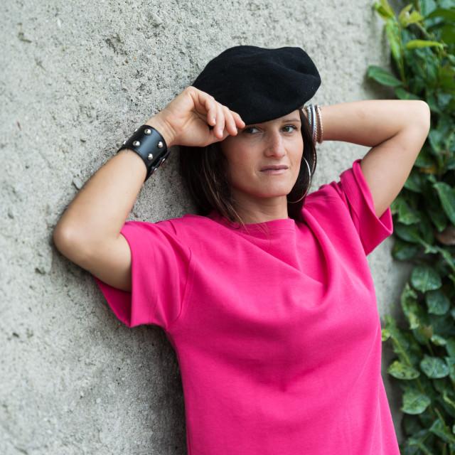"""girl with dark hair posing wearing a black beret"" stock image"