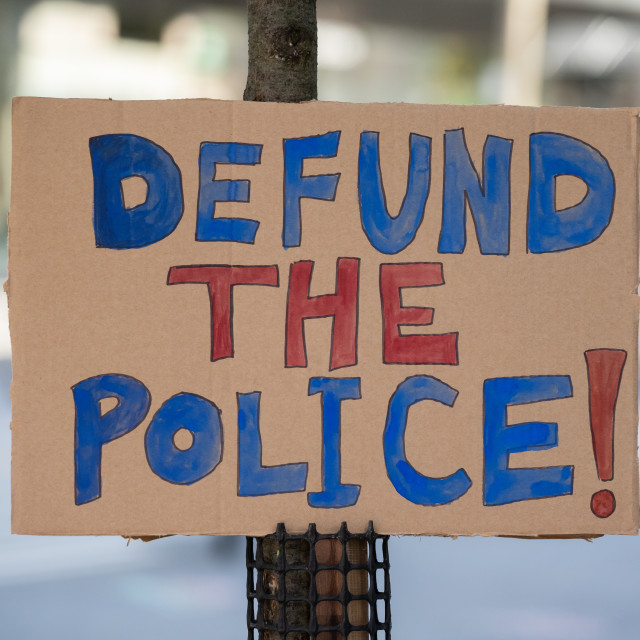 """""""Sign to Defund The Police in Toronto, Ontario"""" stock image"""
