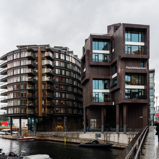 """New residential luxury buildings in Aker Brygge area in Oslo"" stock image"