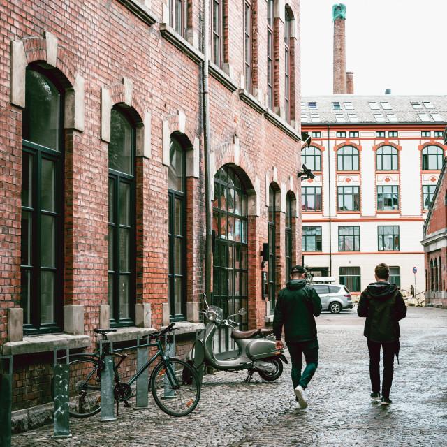 """Street scene in Grunerlokka, a trendy quarter in Oslo"" stock image"