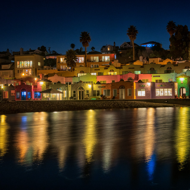 """""""Venetian Cottages on Capitola Beach"""" stock image"""
