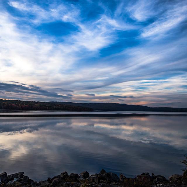 """""""Sunset Reflection in Quabbin Reservoir in Massachusetts, USA"""" stock image"""