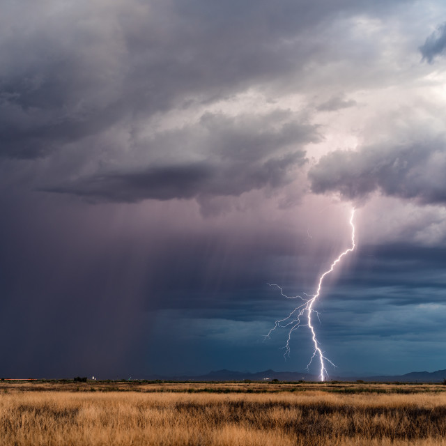 """Thunderstorm lightning bolt strike"" stock image"