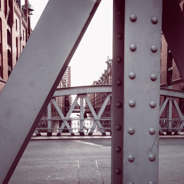 """""""Steel bridge im the Warehouse District or Speicherstadt in Hamburg"""" stock image"""