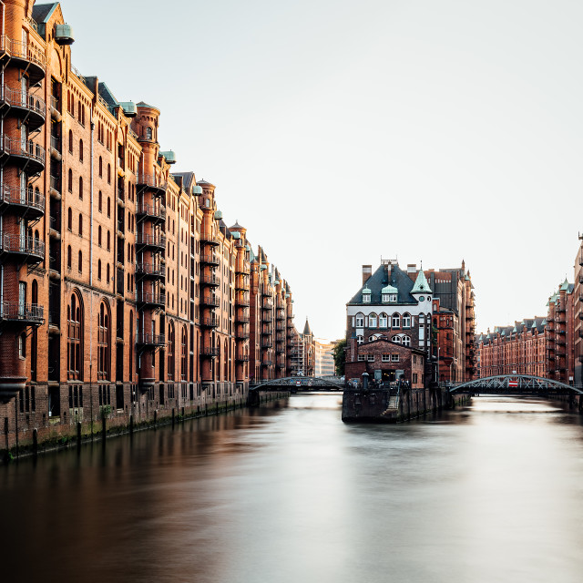"""""""Long exposure view of the Warehouse District or Speicherstadt in Hamburg. Wandrahmsfleet canal"""" stock image"""