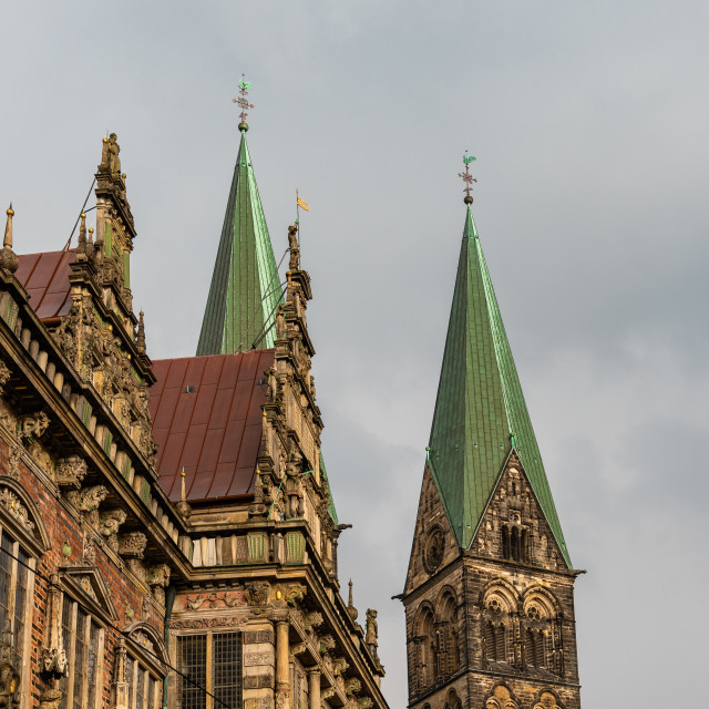 """""""City Hall and Cathedral of Bremen in Germany"""" stock image"""