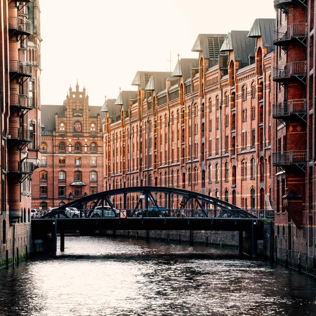 """The Warehouse District or Speicherstadt in Hamburg."" stock image"
