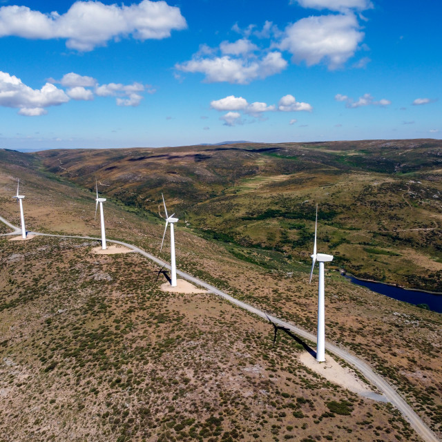 """""""Aerial view of wind turbines for power generation"""" stock image"""