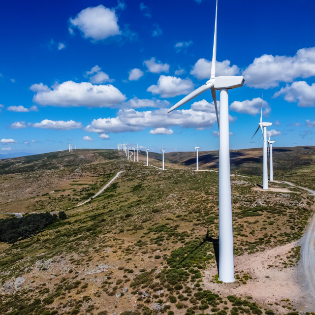 """""""Aerial drone view of wind turbines for power generation"""" stock image"""