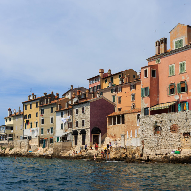"""""""Rovinj houses looking on the seafront."""" stock image"""