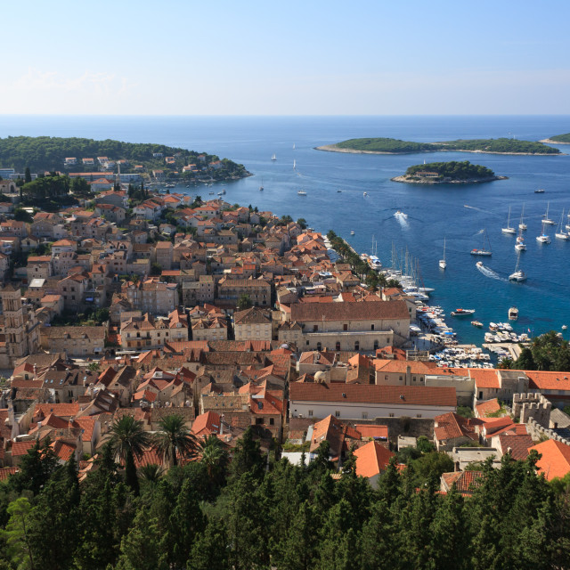 """""""Hvar, panoramic view from Spanish Fortress"""" stock image"""