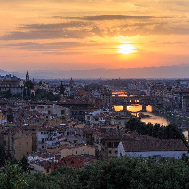 """""""View of Florence bridges from Piazzale Michelango at sunset"""" stock image"""