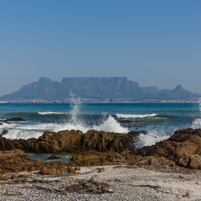 """""""Table Mountain view from Bloubergstrand"""" stock image"""