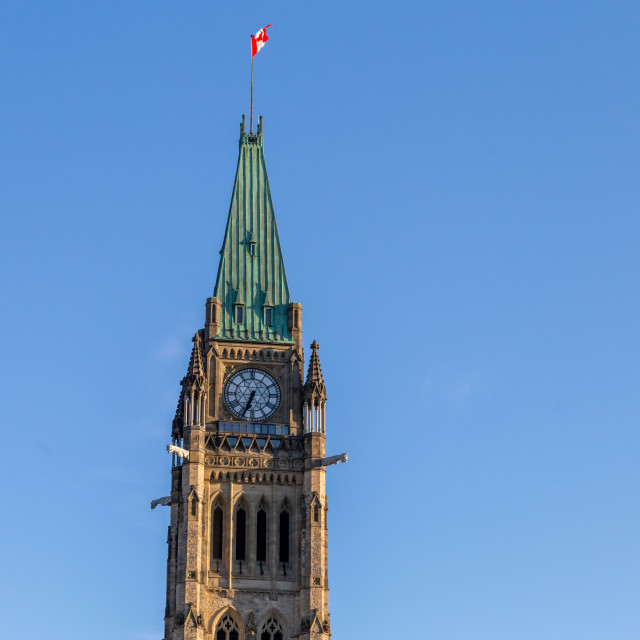 """Peace Tower against a blue sky in Ottawa, Canada"" stock image"