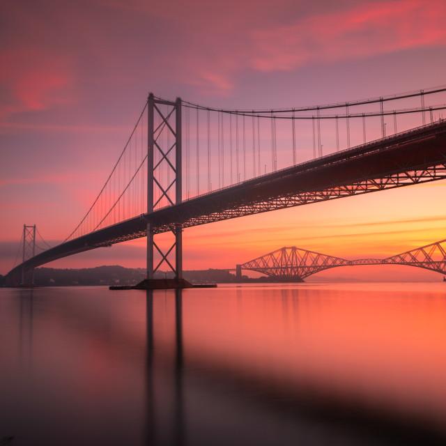 """""""Sunrise at the Bridges"""" stock image"""