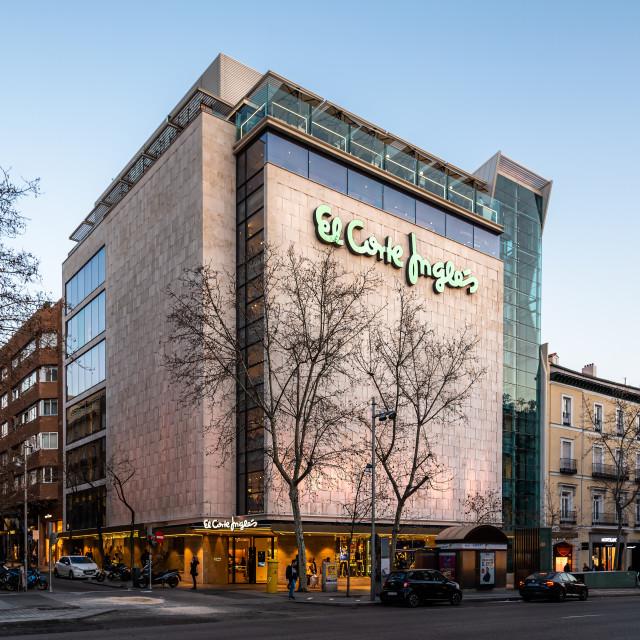 """El Corte Ingles of Serrano Street in Salamanca District in Madrid"" stock image"