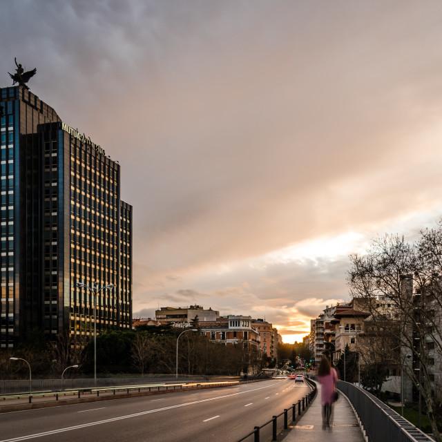 """Cityscape of Madrid at sunset. Juan Bravo bridge over Castellana avenue"" stock image"