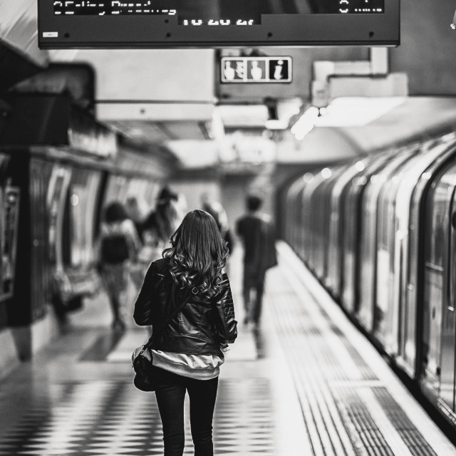 """""""London Underground in Black and White."""" stock image"""