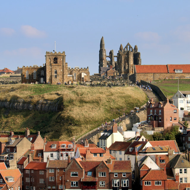 """Classic view of Whitby, North Yorkshire."" stock image"