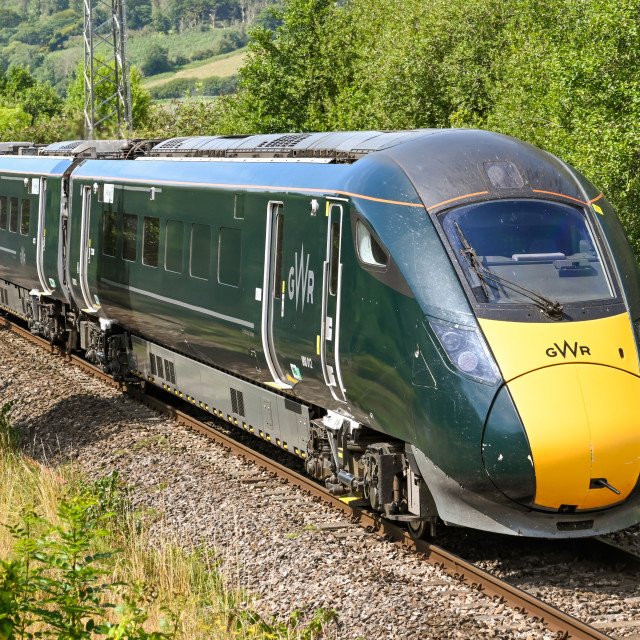 """High speed train operated by Great Western Railway"" stock image"