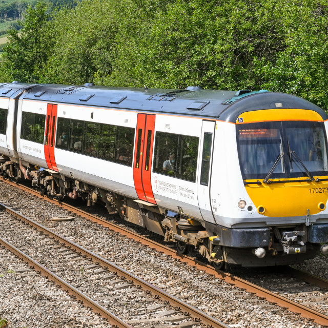 """Diesel commuter train operated by Transport for Wales"" stock image"