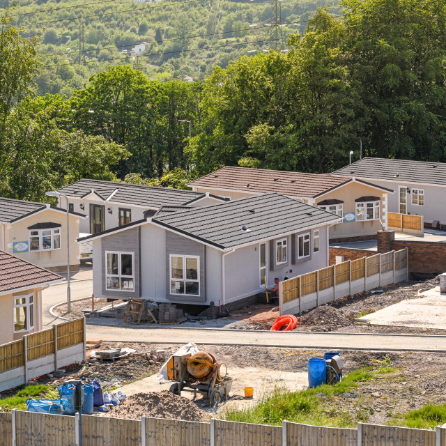 """""""New mobile homes on a site"""" stock image"""