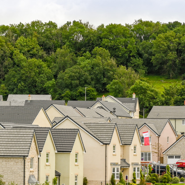 """""""Panoramic view of new homes on a new housing development"""" stock image"""