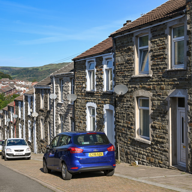 """""""Traditional terraced housing in the South Wales valleys"""" stock image"""