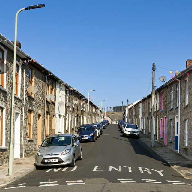 """""""Traditional terraced housing in the Rhondda Valley, Wales"""" stock image"""