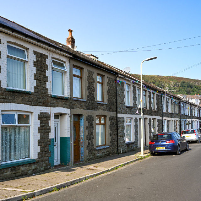"""""""Traditional terraced housing in the Rhondda Valley, Wales."""" stock image"""