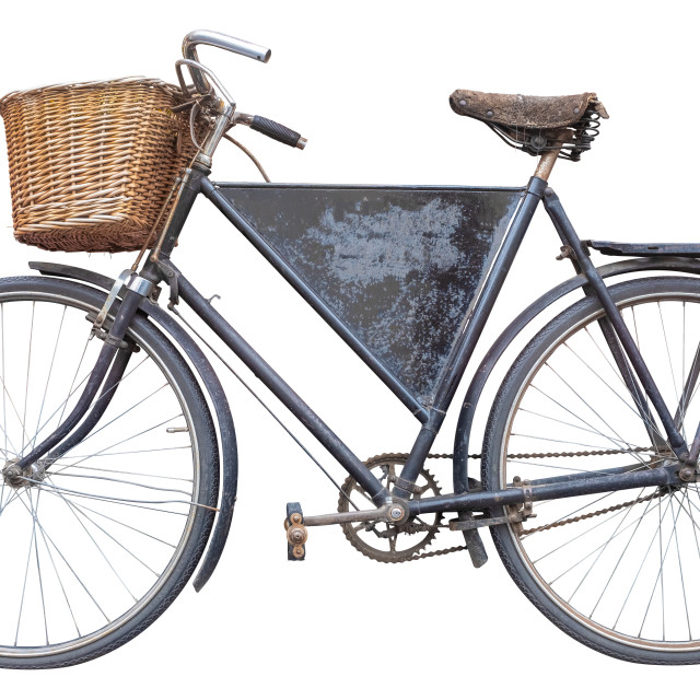 """Isolated Vintage Delivery Bike"" stock image"