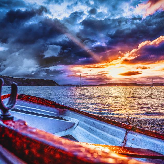 """Sunset from Cawsand Beach, Cornwall UK."" stock image"