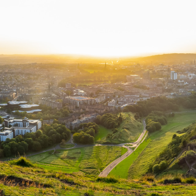 """Panorama Of Edinburgh Cityscape At Sunset"" stock image"