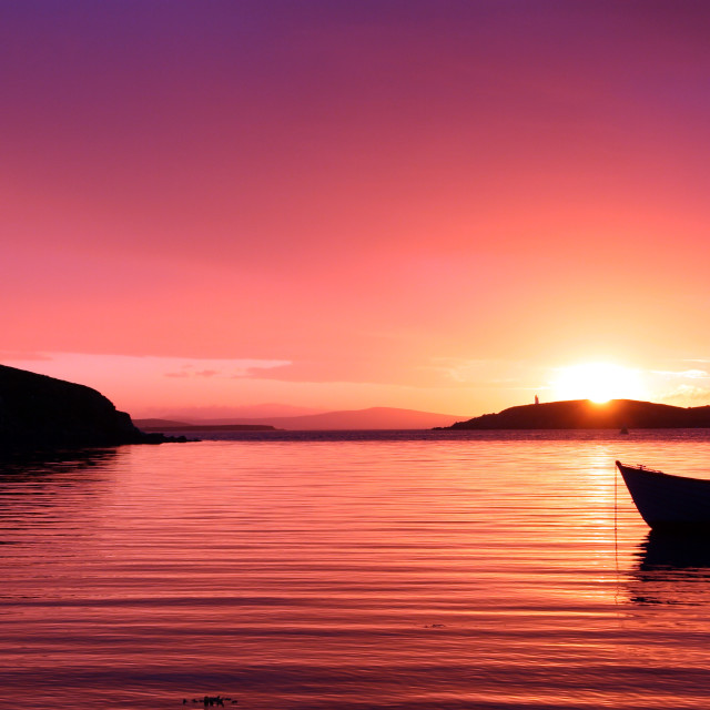 """""""Boat Resting In The Sunset"""" stock image"""