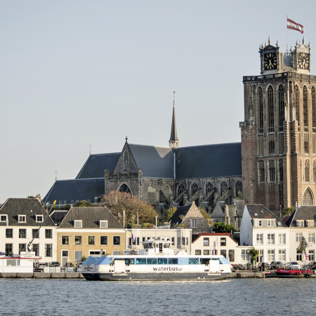 """""""Dordrecht waterfront and church"""" stock image"""