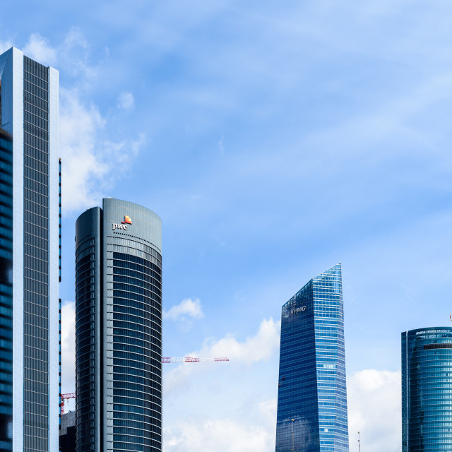 """""""Panoramic view of Cuatro Torres Business Area in Madrid"""" stock image"""