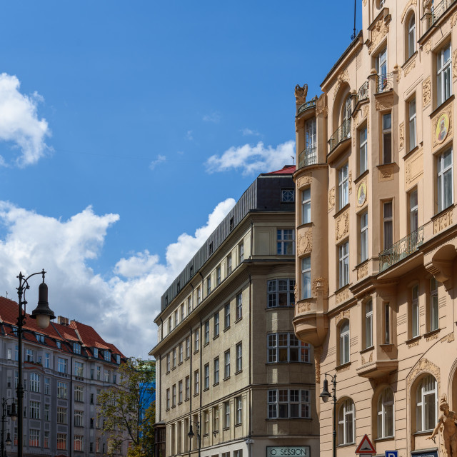 """Cityscape of historic city centre of Prague"" stock image"