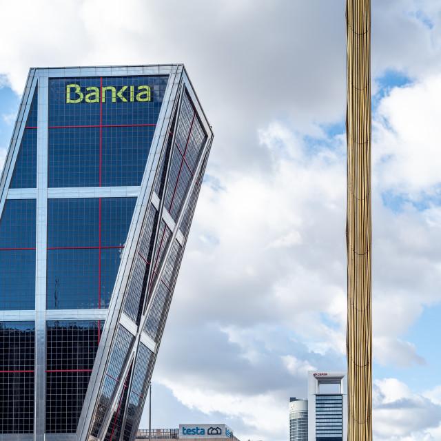"""""""Bankia skyscraper in Plaza de Castilla Square in Madrid against sky"""" stock image"""