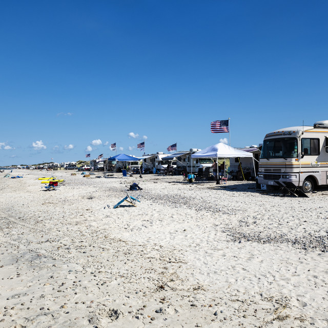 """RV camping at Sandy Neck Beach Park"" stock image"