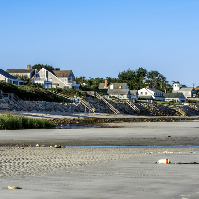 """Beach and waterfront houses at Ellis Landing Beach"" stock image"
