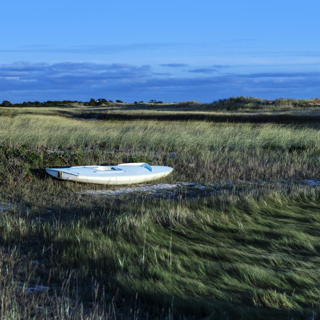 """Small sailboat stored in the dunes at Hardings Beac"" stock image"