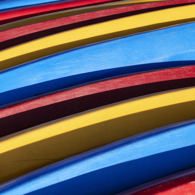 """Colorful detail of wave boards"" stock image"