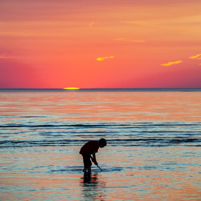 """Boy net fishing for minnows at sunset"" stock image"