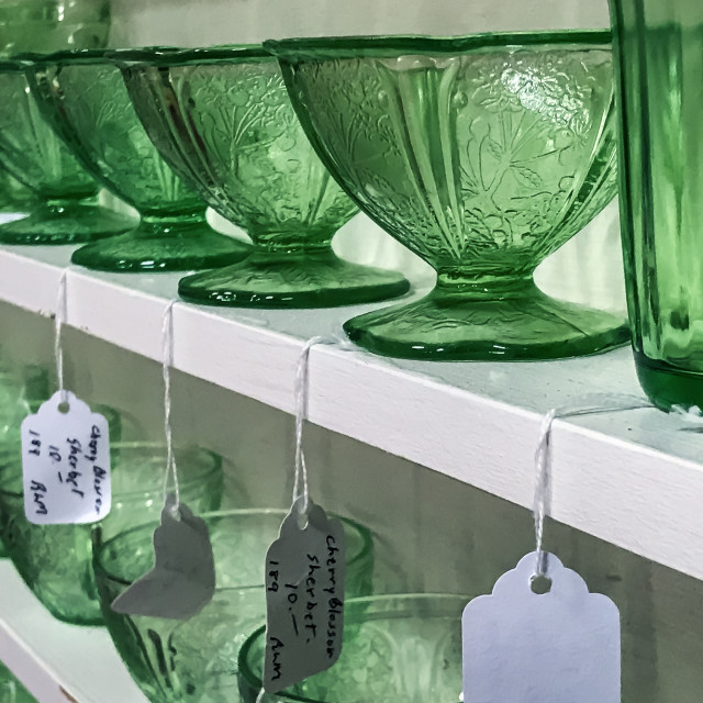 """Thrift shop glassware display"" stock image"
