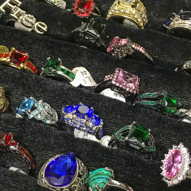 """Costume jewelry ring display"" stock image"
