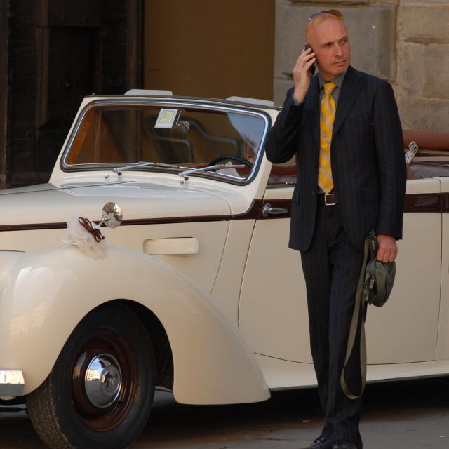 """The elegant wedding chauffeur"" stock image"