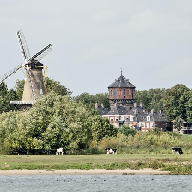 """Gorinchem windmill and watertower"" stock image"