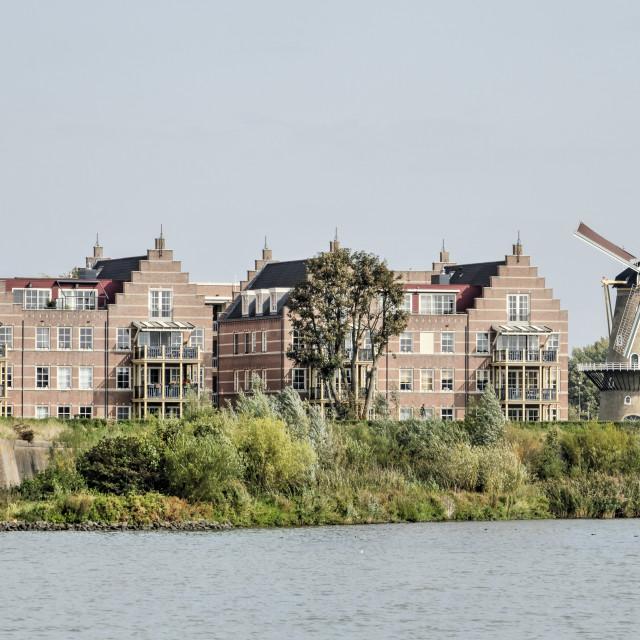 """Gorinchem housing and windmill"" stock image"