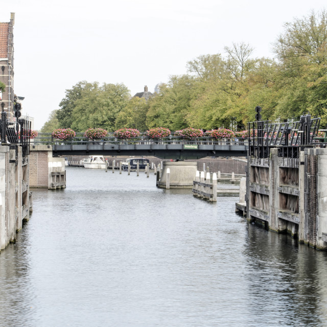 """Gorinchem bridge and river"" stock image"
