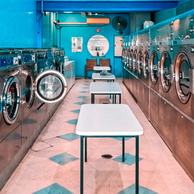 """Interior of a retro style laundrette"" stock image"